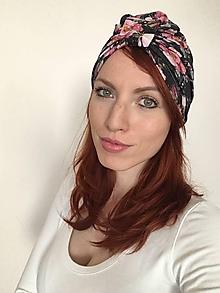 Čiapky - Turbanová čiapka- kvetovaná čierna - 10734146_