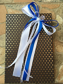 Dekorácie - Mašličky na auto bielo - modré - 10735017_