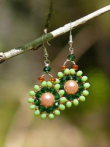 Náušnice - Šité náušnice - zelená + oranžová - 10734195_