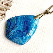 Náhrdelníky - Blue Sea Jasper Bronze Pendant / Prívesok s morským jaspisom - 10737463_
