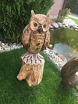 Socha - Drevená socha sova - 10737259_