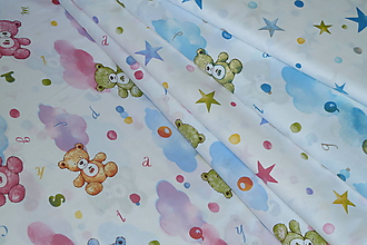 Textil - Látka Macko a hviezdičky - 10738779_