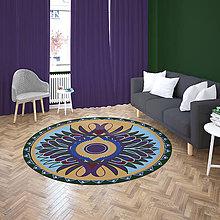 Úžitkový textil - Mandala v koberci  l motýľ l tmavo modrá - 10737584_