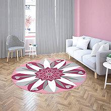 Úžitkový textil - Mandala v koberci  l kvetinová energia l tmavo ružová - 10737636_