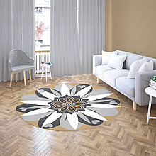 Úžitkový textil - Mandala v koberci  l kvetinová energia l šedo béžová - 10737640_