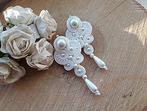 Náušnice - Svadobné šujtášové náušnice Lilien (Biela) - 10738781_