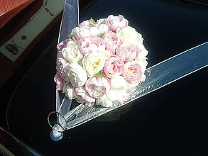 Kytice pre nevestu - výzdoba na svadobné auto s pivóniami - 10739157_