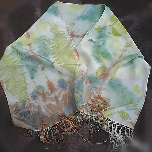 Pobozkaná orgovánom-hodvábny ecoprint šál
