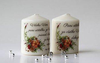 Svietidlá a sviečky - Duo dekoračných sviečok pre pani učiteľky - 10738701_