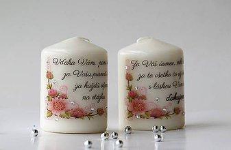 Svietidlá a sviečky - Duo dekoračných sviečok pre pani učiteľky - 10738708_