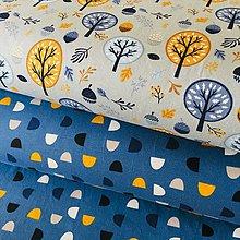 Textil - bavlnený úplet Modré kopčeky, šírka 160 cm - 10737614_
