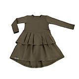 Detské oblečenie - Šaty s volánom khaki - 10739361_
