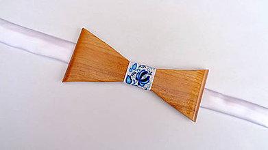 Doplnky - Pánsky drevený motýlik  - folk modrý - 10737362_