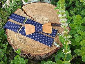Doplnky - Pánsky set - drevený motýlik a traky - 10738626_