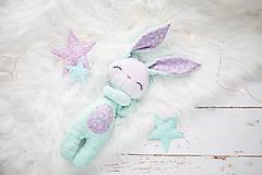 Hračky - Zajačik mentolovo-levanduľový  - 10737844_
