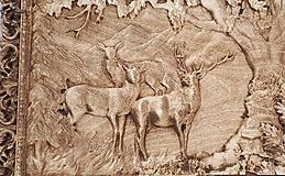 Dekorácie - Jelene - Drevený 3D obrázok - 10737941_