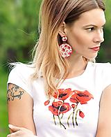 Tričká - Sada Poppies 1 - tričko + náušnice - 10738590_