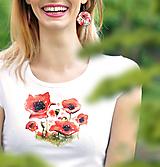 Tričká - Sada Poppies 2 - tričko + náušnice - 10738611_