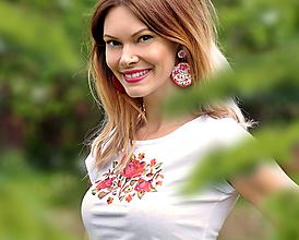 Tričká - Sada Roses - tričko + náušnice - 10738575_