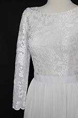 Šaty - Svadobné šaty z tylovej vyšívanej krajky s dlhým rukávom - 10737288_