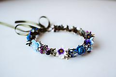 Ozdoby do vlasov - Modrý kvetinový venček - 10738265_