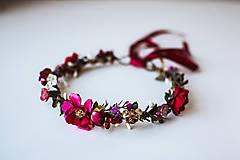 Ozdoby do vlasov - Bordový kvetinový venček - 10738269_