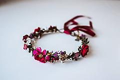 Ozdoby do vlasov - Bordový kvetinový venček - 10738271_