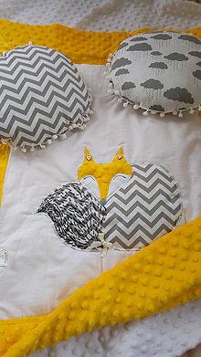 Textil - Žltá minky deka/perinka s líškou - 10738406_