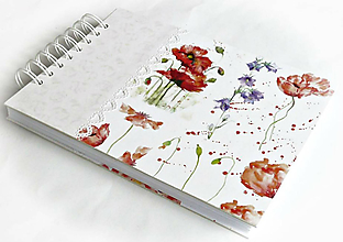 Papiernictvo - Kniha hostí/Album/Svadobná kniha/Maky/Vlčí mak/Divý mak/Lúčne kvety - 10738377_