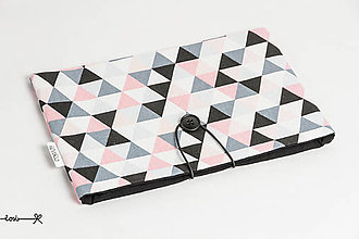 Papiernictvo - Obal na knihu - triangles čierno-ružový - 10737342_