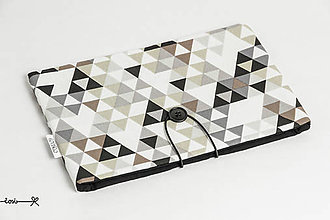 Papiernictvo - Obal na knihu - čierno-hnedý triangles - 10737352_