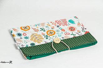 Papiernictvo - Obal na knihu - kvety v zelenom - 10737414_