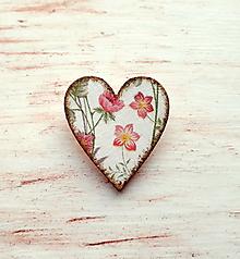 Odznaky/Brošne - brošňa kvety v srdci - 10739536_