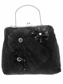 Kabelky - dámská kabelka Spoločenská čipková kabelka čierná jj1 - 10740738_