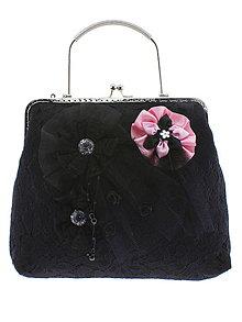Kabelky - dámská kabelka Spoločenská čipková kabelka čierná jj2 - 10740749_