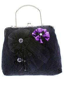 Kabelky - dámská kabelka Spoločenská čipková kabelka čierná jj5 - 10740809_
