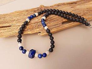 Šperky - Pánsky náhrdelník láva a lapis lazuli - 10741166_