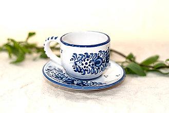 Nádoby - Modrá piccolo šálka s podšálkou - 10741095_