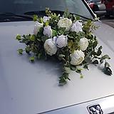 Kytice pre nevestu - svadobná ikebana na auto s pivóniami, ružami, eukalyptus - 10739928_