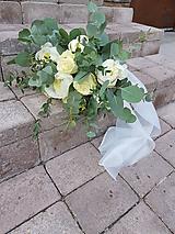 Kytice pre nevestu - svadobná kytica zo živých pivónií a ruží s eukalyptom - 10739969_