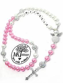 Náhrdelníky - Ruženec perl. so shamballa  (Ružovo-biely s anjelom) - 10741822_