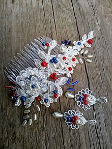 Ozdoby do vlasov - čipkový hrebienok do vlasov - bielo - modro - červený - 10740584_
