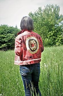 Kabáty - rifľova bunda červená - 10741216_