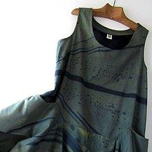 Šaty - KHAKI-BLUE - šaty modrotiskové balonové - 10740067_