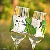 Nádoby - Spoločná cesta brezovým hájom - sada svadobných pohárov - 10741442_