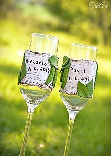 Nádoby - Spoločná cesta brezovým hájom - sada svadobných pohárov - 10741436_