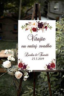 Tabuľky - Vitajte na našej svadbe Burgundy - 10741173_