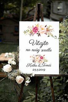 Tabuľky - Vitajte na našej svadbe pivónky - 10741314_