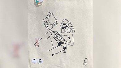 Iné tašky - ♥ Plátená, ručne maľovaná taška ♥ - 10740372_