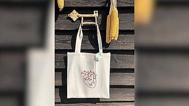 Nákupné tašky - ♥ Plátená, ručne vyšívaná taška ♥ - 10740418_